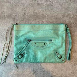 Turquoise Balenciaga Clutch